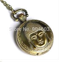 12pcs/lot Steampunk Antique  Buddha Pocket Watch Necklace Middle size