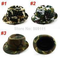 Boy's Girl's Camouflage hats Dicer Trilby hat Kids Fedora Hats Kids Jazz Cap 10pcs/lot BH007