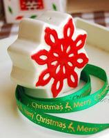 2Meter Christmas Green bottom gilding elk various snowflake 1CM wide ribbon / decoration gift packing ribbon