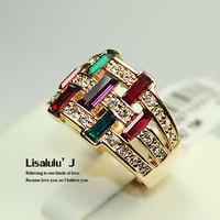 18K GP Fashion Flower Ring Multi-Colored Crystal R114 Free Shipping