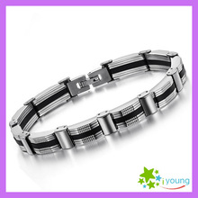 Free Shipping 2014 New Arrival Men Jewelry Genuine Silicone Bracelet Korean Style Hand Chain Stainless Steel Bracelets Marriage
