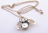 Vintage OWL Shaped Pocket Watch Necklace, 12pcs/lot, Wholesale FREE SHIPPING