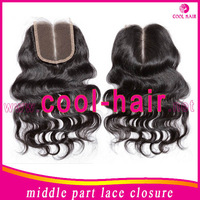 2014 Hot sale Brazilian hair middle part lace closure body wave