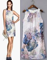 New Hot 201406 Autumn/Summer Floral Print Straight Dress Mini Women's/Girl Flower Sleeveless O Neck Casual Dress Free Shipping