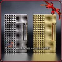 "HK Luxury FS Durout Irregular Diamond Lattice Pattern W/Bright ""Ping"" Sound Pure Copper Cigar Cigarette Smoking Gas Lighter"