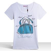Wholesale Price European Style Tee Printed Hand Bag Rhinestone Fashion Summer Tops New 2014 Women T-shirts  XXXL