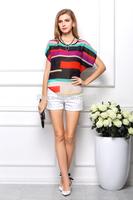 2014 women Irregular loose big yards blouses short sleeve chiffon shirt colorful striped t-shirt tops s-3xl