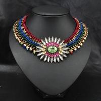 Vintage Bohemian New 2014 Wholesale Fashion Necklace For Women European Flower Design Statement Choker Collar Necklace