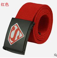 Hot Sale Candy Color Mens Womens Unisex Plain Webbing Cotton Canvas Metal Buckle Belt