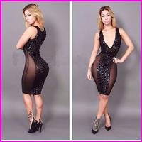 2014 New Design Europen and America Sexy Night Club Wear Bodycon Dress Black Stretch Spandex See Through Bandage Dresses A5729