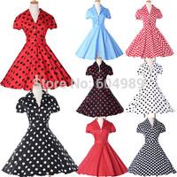 2015 GraceKarin Women Cotton Polka Dots 40s 50s 60s Vintage Retro Rockabilly Swing Pinup Hepburn Prom Summer vestidos Dress 6089