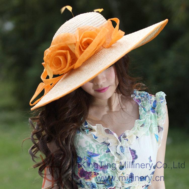 Free Shipping Women Hat Summer Dress Hat Fashion Straw Hat Sinamay Flower Straw Ribbons Feathers Sun Shading Flower Beach(China (Mainland))