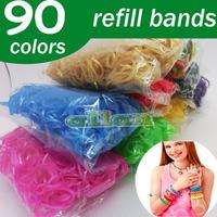 Wholesale 2014 90 color Metallic Gold Silver color Refill Loom bands rubber Bands Kit DIY Wrist Bracelet for kids Toy