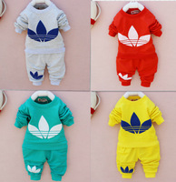 retail 2014 New cotton Toddlers children baby boys girls autumn spring 2 pcs clothing set suit Pattern baby shirt + pants sets