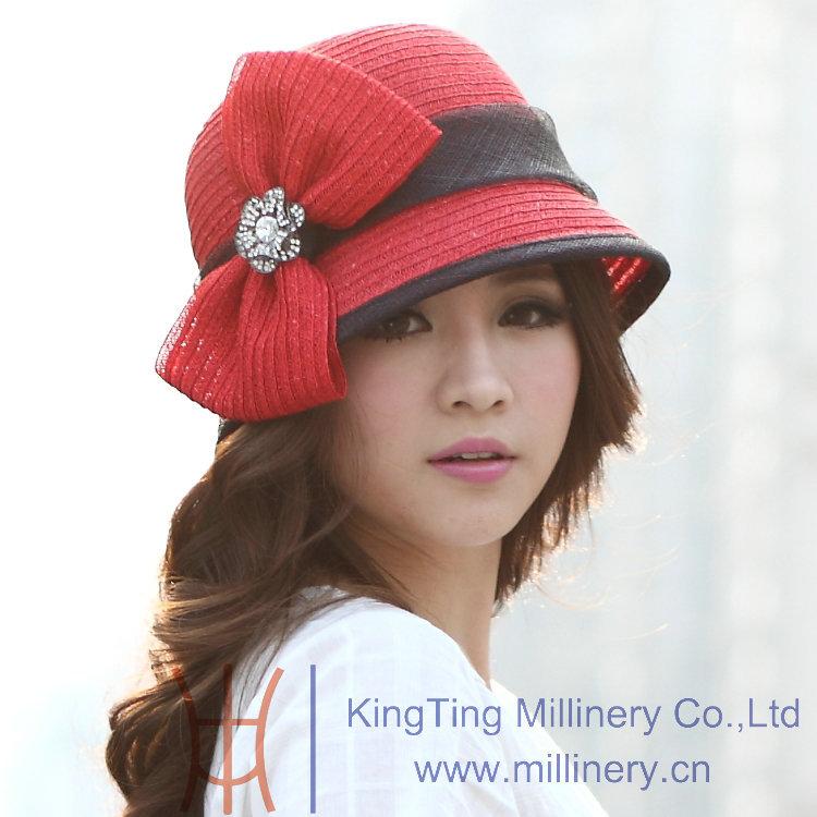 Free Shipping Women Hat 2014 Summer Dress Fashion Straw Hat Red Straw Ribbons Black Sinamay Sun-Shading New Arrival Summer(China (Mainland))