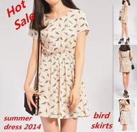 Free Drop shipping summer dress 2014 Fashion Cute women Dresses Casual Girls' Bird print dresses Short woman clothes Wholesale