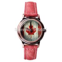 2014 new design fashion women dress Watches leather belt Quartz canada Flag table Women Canvas Casual Analog Watch
