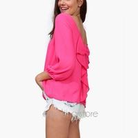 Five Colors S-XXL,New Fashion Women Clothing Chiffon Shirt 2014 Summer Loose Backless Bow Blouse 40JP-E2712