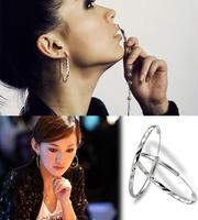 2014 Hot sales Women's Stylish Fashion U-Shaped Oval Hoop Earrings Silver Plated Twinkle Classic Earrings 20JMHM007