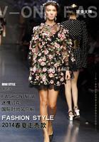 New Arrival Brand Famous Celebrity Long Sleeve Flower Print Midi Dress Long Sleeve Silk Midi Dress