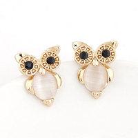 New 2014 Korean Trendy OL Sweet OWL Metal Stud Earrings For Women brincos Accessories fashion jewelry Wholesale
