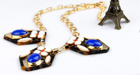 WSN2101 fashion Leopard grain short  Retro resin gem sautoir necklace pendant for women