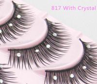 Free Shipping Crisscross False Eyelashes with crystal Performance Eyelash Makeup 817D