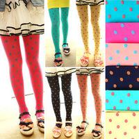Hot Selling Whole Sale 8pcs/lot Dot design Velet Kids Tight 12 colors free shipping girl pantyhose