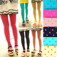 Hot Selling Whole Sale 8pcs/lot Dot design Velet Kids Tight 12 colors free shipping girl pantyhose