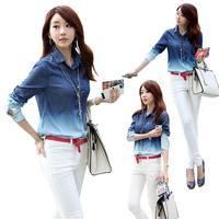 2014 Hot Sale Women's Spring/Autumn  European Turn-down Collar Jean Casual Full Shirt Size S-XL Shirt Blouse 30J-CE3059