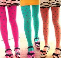 Hot Selling 1pcs/lot New Fashion Dot design Velet Kids Tight girl pantyhose 12 colors stockings free shipping