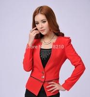 New Fashion Red 2014 Spring Autumn Long Sleeve Women's Blazer Coat Professional Business Work Wear Blazer Outwear Jacket Clothes