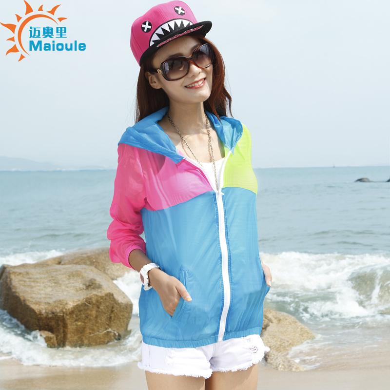 Frete grátis 2014 primavera e no verão de manga comprida com capuz jaqueta curta senhoras proteção UV de proteção solar camisa respirável(China (Mainland))