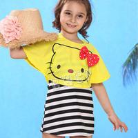 New arrival fashion cartoon cat fashion girl 3pcs sun protection swimwear kids' brand stripe skirt swimsuit children beachwear