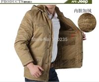 Cotton-padded jacket 2014 Winter Jacket Men  Outdoors Casual Add wool Long  Overcoat Coats Jacket Men  M L XL XXL XXXL 4XL  5XL