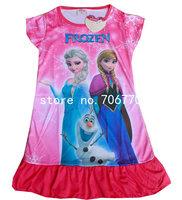 IN HAND! 2104 Frozen Princess  Elsa's Anna & Friends Olaf snowman ~ night home dress Children clothes cartton free shipping