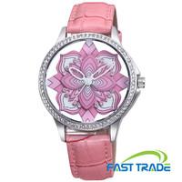 New Design Fashion Watch Genuine Leather Strap Analog Display Quartz Watch Luxury Diamond Women Dress Watch Women Wristwatch