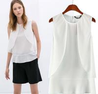2014 Summer New Women ZA Brand Brief Candy Colors Ruffle Chiffon Blouse Shirt Office Lady Sleeveless Casual White Tops Blusas