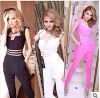 2014 Hot Sexy Jumpsuit Pants Women Mesh Patchwork Bodycon Ladies Rompers Pink Black White Bodysuit Free Shipping