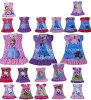 IN HAND! 2104 cartoon Princesses  Elsa  Anna  Dora Doc McStuffins Olaf  Sofia Tinkerbell party night home dress Children clothes