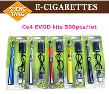Wholesale 500pcs/lot Ego CE4 atomizer EVOD Battery 650mah 900mah 1100mah E-cigarette Kits Electronic Cigarette Blister Kits