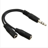 Free shipping  hight quality 3.5mm Male to 2 X 3.5mm Female Jack Audio Splitter Earphone Cable Adapter