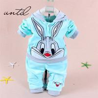 1 Sets retail. 2014 Spring/Autumn baby set cartoon rabbit velvet set twinset long sleeve set hoodie and pant children clothing