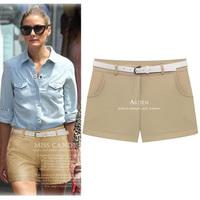 2014 Brief Style Lady Casual Chiffon Hot Short Pants Summer Plus Size Shorts Feminino With Belt S-XXL 8055