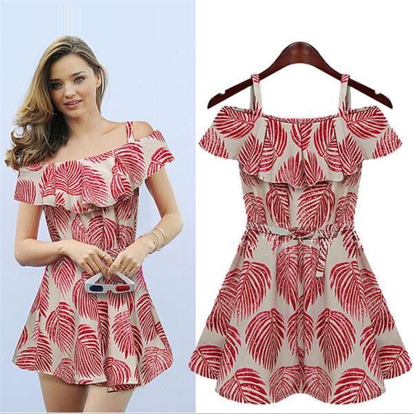 New Fashion Women Slim Falbala Floral Printing Slip Dress Ladies Summer Boat Neck Sleeveless boat neck Dress Mini Dress ZY190(China (Mainland))