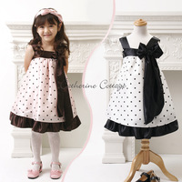 Pink white two kinds of color choices summer girls spell color dot bow sleeveless dress casual dress  4set/lot