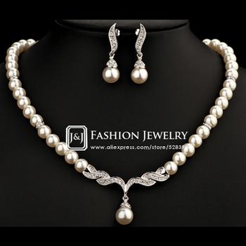 Белый Золото Plated Imitation Pearl Strand Earrings and NeckКружево Elegant Свадьба ...