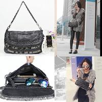 New 2014 Skull Head Rivet Sheet Metal Sheepskin Bag Mosaic Tassels Shoulder Bags Women Genuine Leather Handbags 952