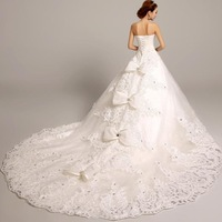 fashionable long mermaid lace elie saab wedding dress vestido de novia 2014 sexy tube bow dresses wedding. 5566Kc