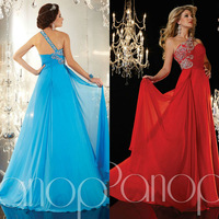 Purple Red Blue Asymmetrical Neckline With Single Strap A Line Chiffon Gown With Shinning Beads Prom Dress One Shoulder Dresses